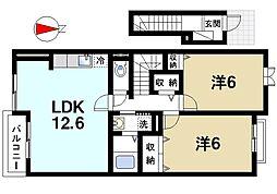 奈良県桜井市大字東新堂の賃貸アパートの間取り