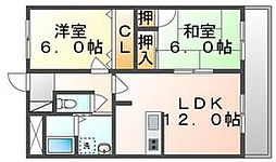 香川県高松市上福岡町の賃貸マンションの間取り