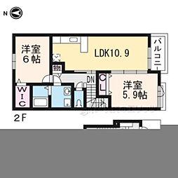 JR草津線 甲西駅 3.2kmの賃貸アパート 2階2LDKの間取り