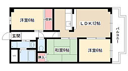 愛知県名古屋市守山区苗代2丁目の賃貸マンションの間取り