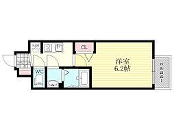 プレサンス新大阪ネオス 3階1Kの間取り