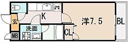 アルベージュ八戸ノ里I番館[2階]の間取り