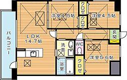 Fu-ton3黒崎(フートンスリー黒崎)[4階]の間取り