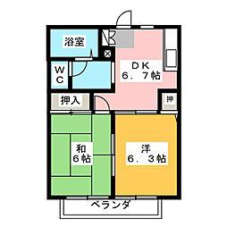 グリーンハイツ喜多山A棟[1階]の間取り