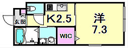 メゾン・クレールII 1階1Kの間取り