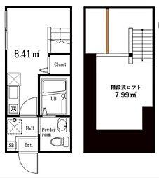 東京都大田区大森北3丁目の賃貸アパートの間取り