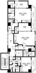 東急東横線 反町駅 徒歩1分の賃貸マンション 3階1LDKの間取り