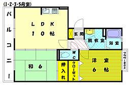 ボヌール新宮B棟[1階]の間取り