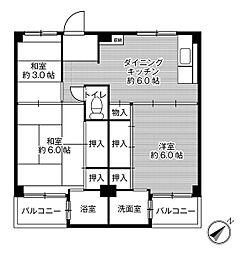 ビレッジハウス葛ノ葉1号棟2階Fの間取り画像