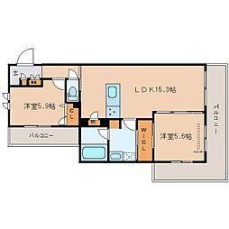 JR関西本線 大和小泉駅 徒歩5分の賃貸マンション 2階2LDKの間取り