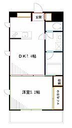 JR中央本線 三鷹駅 徒歩13分の賃貸マンション 5階1DKの間取り