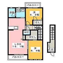 サングランデ原田III[2階]の間取り