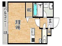 トラストレジデンス博多駅南 14階ワンルームの間取り