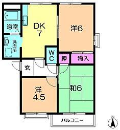 京都府相楽郡精華町桜が丘2の賃貸アパートの間取り