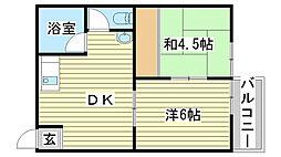 土山協栄ハイツ[2C号室]の間取り