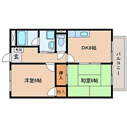 静岡県藤枝市上薮田の賃貸アパートの間取り
