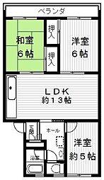コーポ堅田[302号室]の間取り