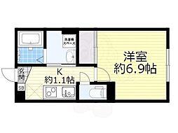 JR阪和線 北信太駅 徒歩4分の賃貸アパート 1階1Kの間取り