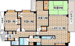 兵庫県神戸市東灘区住吉山手4丁目の賃貸マンションの間取り