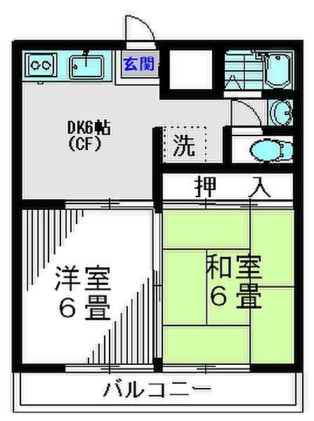 東京都多摩市中沢2丁目の賃貸アパートの間取り
