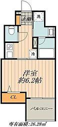 JR山手線 御徒町駅 徒歩1分の賃貸マンション 2階1Kの間取り