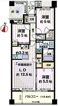 間取り(3SLDK 5階最上階の低層の高級感のある分譲賃貸マンション 2SLDKで利用も出来ます)