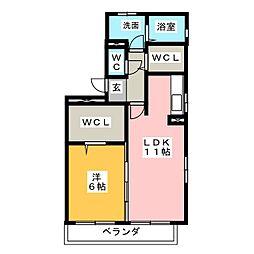 愛知県名古屋市中川区長須賀2の賃貸アパートの間取り