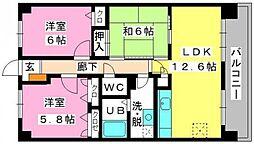 福岡県福岡市博多区立花寺2丁目の賃貸マンションの間取り