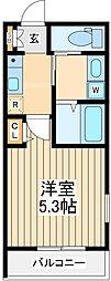 JR中央線 立川駅 徒歩20分の賃貸マンション 1階1Kの間取り
