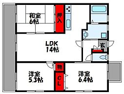 JR鹿児島本線 古賀駅 徒歩1分の賃貸マンション 7階3LDKの間取り