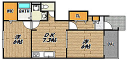兵庫県川西市笹部2の賃貸アパートの間取り