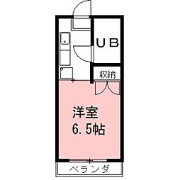 安田学研会館 乾棟[607号室]の間取り