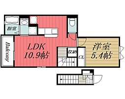 JR成田線 成田駅 バス24分 富里消防署下車 徒歩3分の賃貸アパート 2階1LDKの間取り
