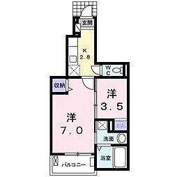 栃木県真岡市並木町3丁目の賃貸アパートの間取り