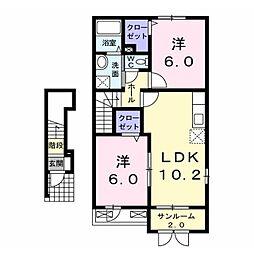 JR飯山線 飯山駅 徒歩28分の賃貸アパート 2階2LDKの間取り