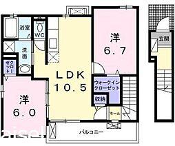 広島県広島市佐伯区三宅5丁目の賃貸アパートの間取り
