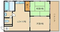 兵庫県加古川市別府町新野辺北町5丁目の賃貸マンションの間取り