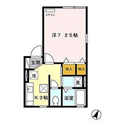 新潟県新潟市東区上木戸5丁目の賃貸アパートの間取り