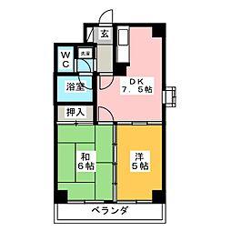 サンハイツ台原[4階]の間取り