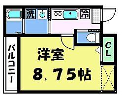 フラッティ京都西陣 4階1Kの間取り