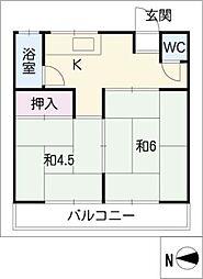 安井荘 B棟[2階]の間取り