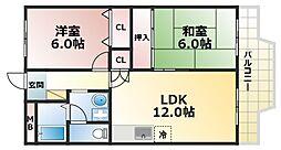 コスモハイツ六甲道[7階]の間取り