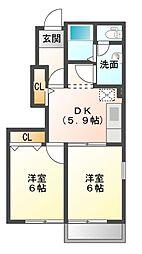 レジデンスブロッコリーB棟[1階]の間取り