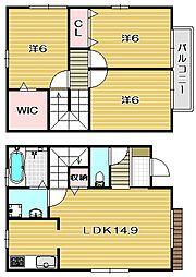 [テラスハウス] 大阪府茨木市庄2丁目 の賃貸【大阪府 / 茨木市】の間取り