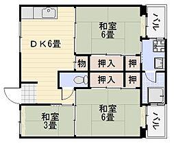 ビレッジハウス伏屋7号棟[203号室]の間取り