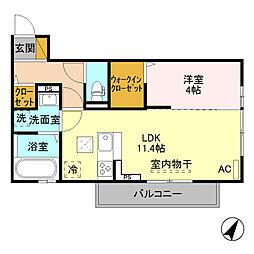 (仮)D-room寺尾台[A202号室]の間取り
