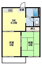 愛知県豊田市大林町17丁目の賃貸アパートの間取り
