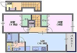 サニーレジデンスB[2階]の間取り
