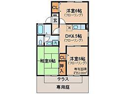 京都府宇治市広野町小根尾の賃貸アパートの間取り