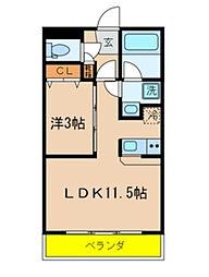 千葉県千葉市中央区松波1丁目の賃貸マンションの間取り